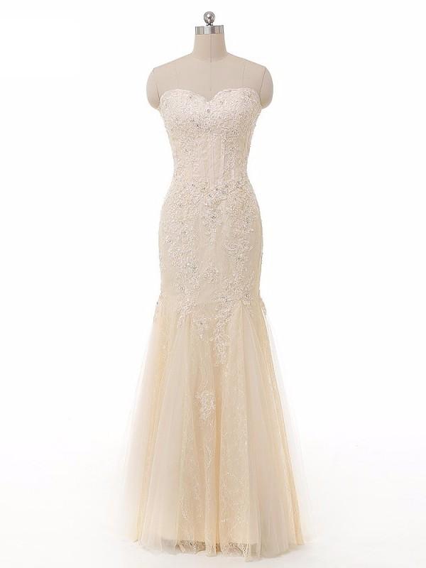 Trumpet/Mermaid Sweetheart Lace Tulle Beading Floor-length Online Prom Dresses #JCD020102934