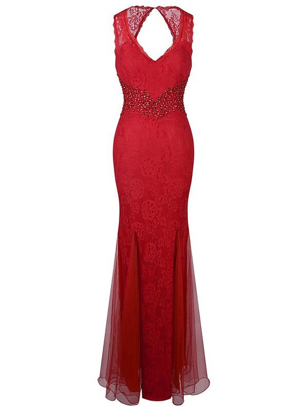 Trumpet/Mermaid V-neck Red Lace Tulle Beading Floor-length Nice Open Back Prom Dresses #JCD020102945