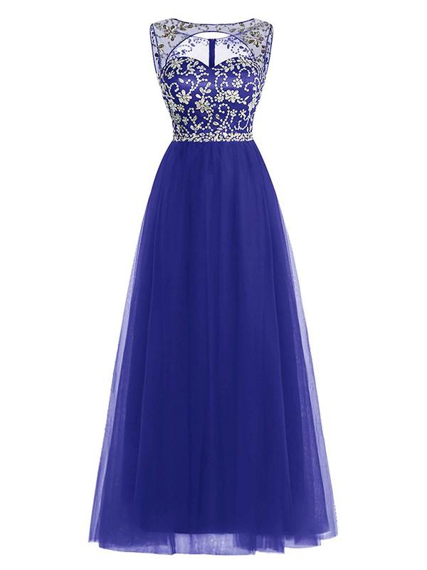 A-line Scoop Neck Royal Blue Tulle Beading Floor-length Custom Open Back Prom Dresses #JCD020102947