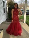 Perfect Trumpet/Mermaid Burgundy Tulle Beading Floor-length Open Back High Neck Prom Dresses #JCD020102949