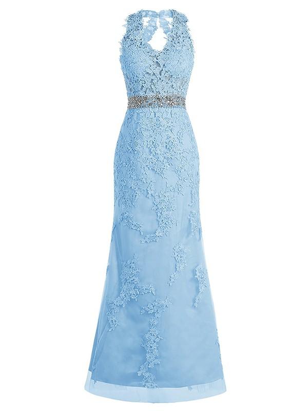 Open Back V-neck Blue Tulle with Beading Floor-length Famous Sheath/Column Prom Dresses #JCD020102950