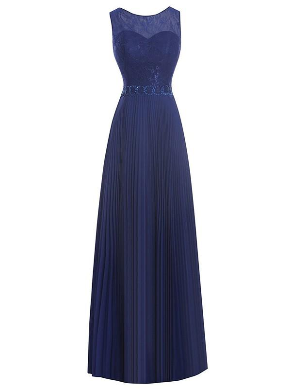 Scoop Neck Lace Chiffon with Beading Floor-length Cheap Sheath/Column Prom Dresses #JCD020102959