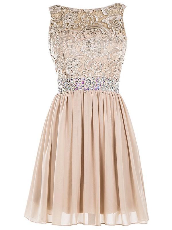 Champagne A-line Scoop Neck Lace Chiffon Beading Classy Short/Mini Prom Dresses #JCD020102984