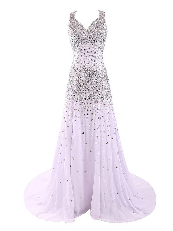 V-neck Sheath/Column Tulle Crystal Detailing Sweep Train Stunning Open Back Prom Dresses #JCD020102985