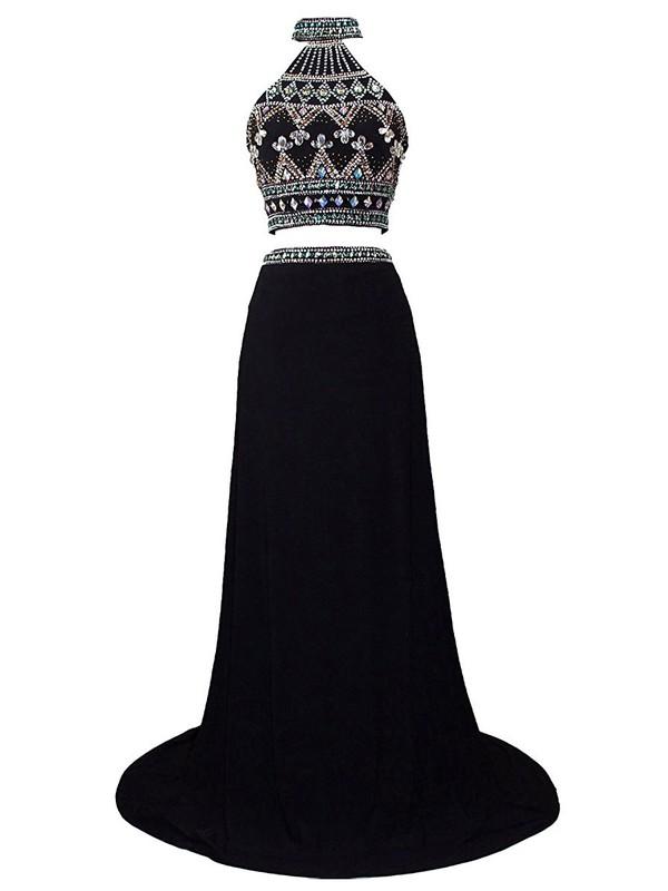 Two Piece Sheath/Column Black Chiffon Sequins Sweep Train Trendy High Neck Prom Dresses #JCD020102993