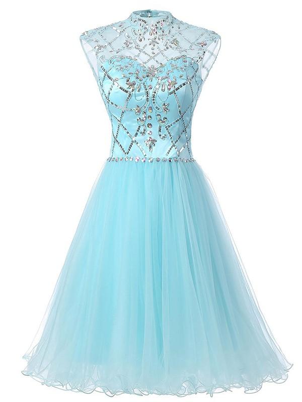 High Neck A-line Tulle Beading Knee-length Fabulous Open Back Prom Dresses #JCD020102995