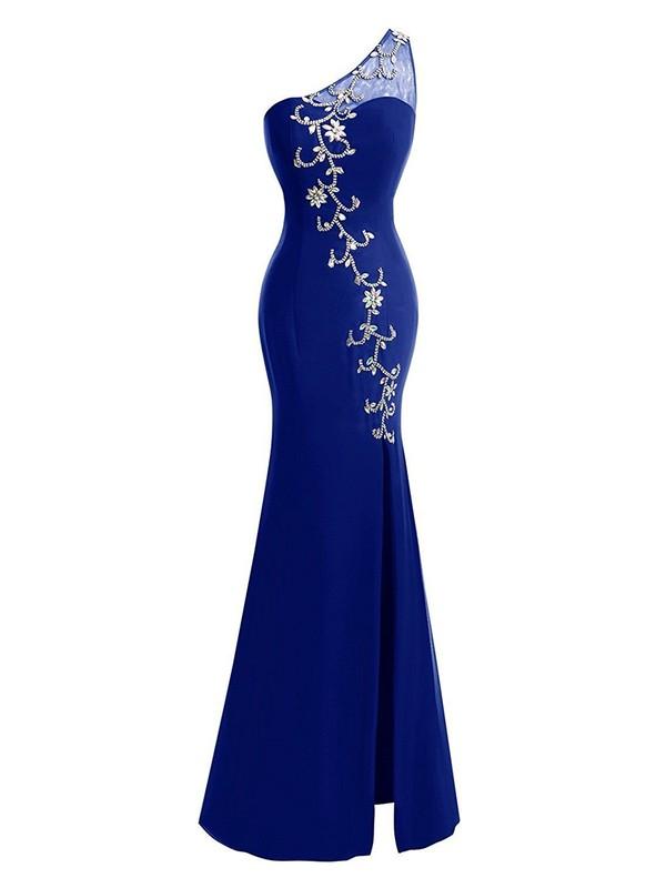 Elegant Trumpet/Mermaid Royal Blue Chiffon Tulle Split Front Floor-length One Shoulder Prom Dresses #JCD020103001