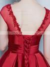 Asymmetrical Princess Scoop Neck Satin Tulle Appliques Lace Cap Straps Prettiest High Low Prom Dresses #JCD020103133