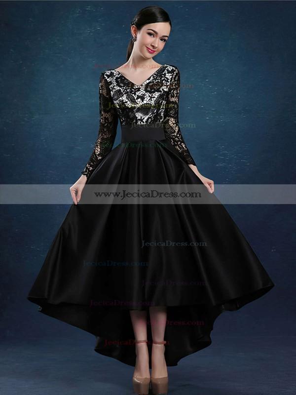 A-line V-neck Burgundy Lace Satin Ruffles Asymmetrical Perfect High Low Long Sleeve Prom Dresses #JCD020103138