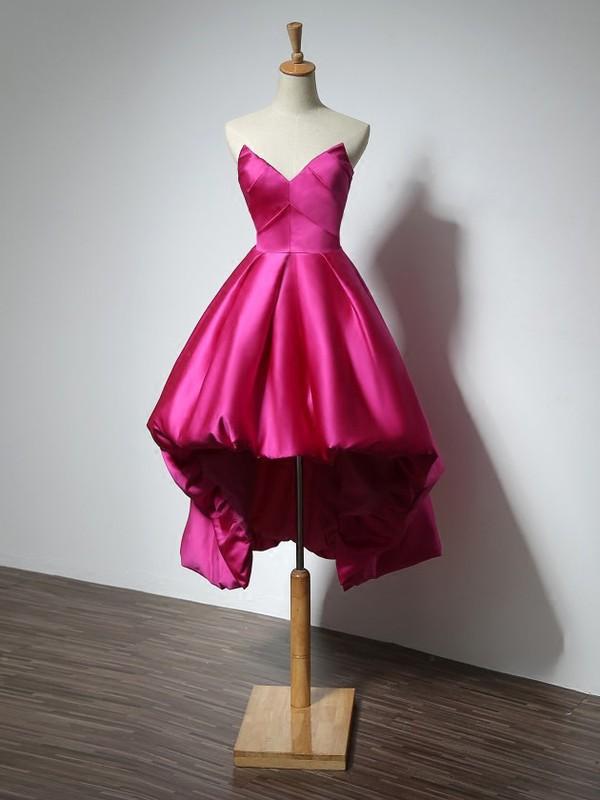 Vintage Asymmetrical Princess V-neck Satin with Ruffles High Low Prom Dresses #JCD020103177
