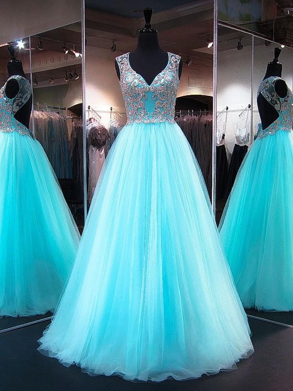 Princess V-neck Light Sky Blue Tulle Crystal Detailing Floor-length Fabulous Open Back Prom Dresses #JCD020103227