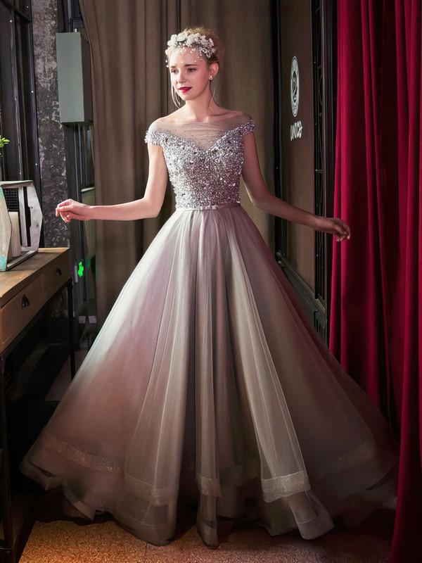 Latest Princess Tulle Crystal Detailing Floor-length Cap Straps Off-the-shoulder Prom Dresses #JCD020103230