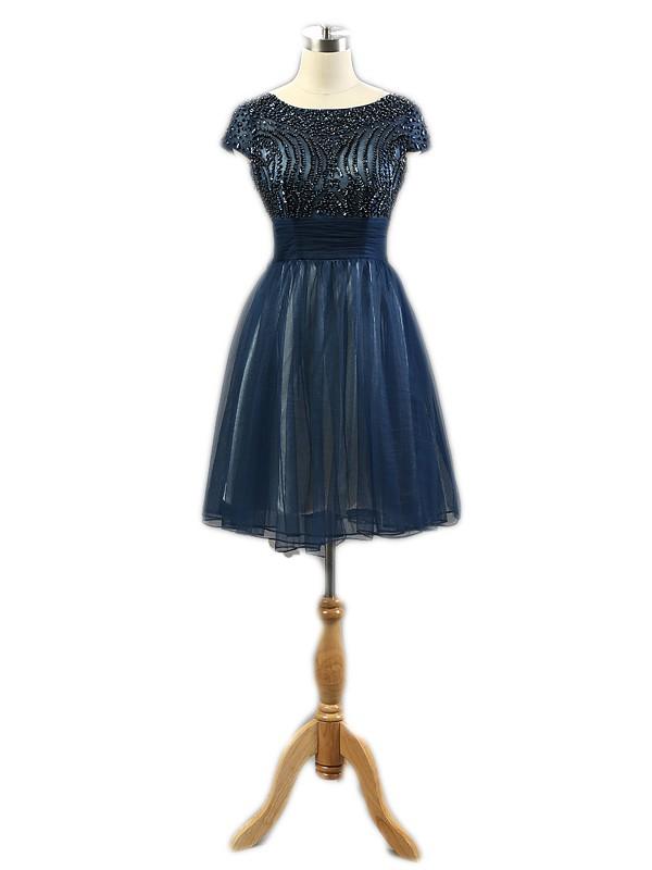 Short/Mini A-line Scoop Neck Dark Navy Tulle Crystal Detailing Custom Open Back Prom Dresses #JCD020103237