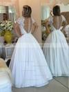Fabulous White Princess V-neck Chiffon Lace Floor-length Short Sleeve Prom Dresses #JCD020103257