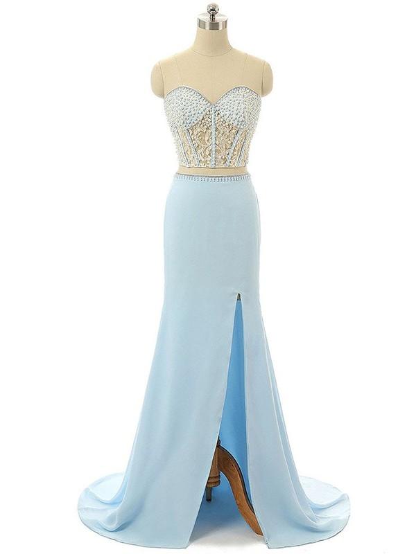 Light Sky Blue Sweetheart Chiffon Tulle Split Front Sweep Train Custom Trumpet/Mermaid Prom Dresses #JCD020103263