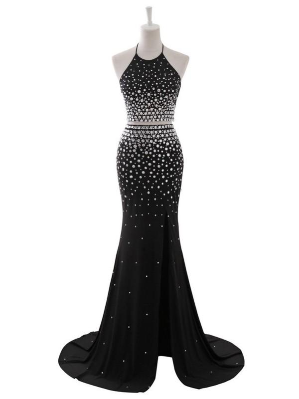 Black Trumpet/Mermaid Halter Chiffon Beading Sweep Train Two Piece Backless Prom Dresses #JCD020103273