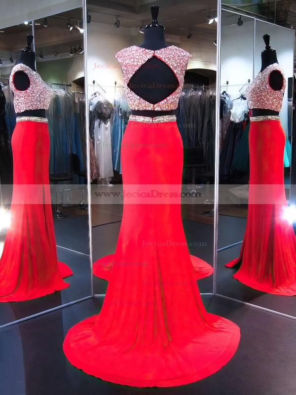 Fabulous Open Back Red Trumpet/Mermaid Scoop Neck Chiffon Split Front Sweep Train Two Piece Prom Dresses #JCD020103276
