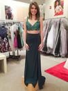 V-neck Sheath/Column Chiffon Split Front Floor-length Inexpensive Backless Two Piece Prom Dresses #JCD020103291