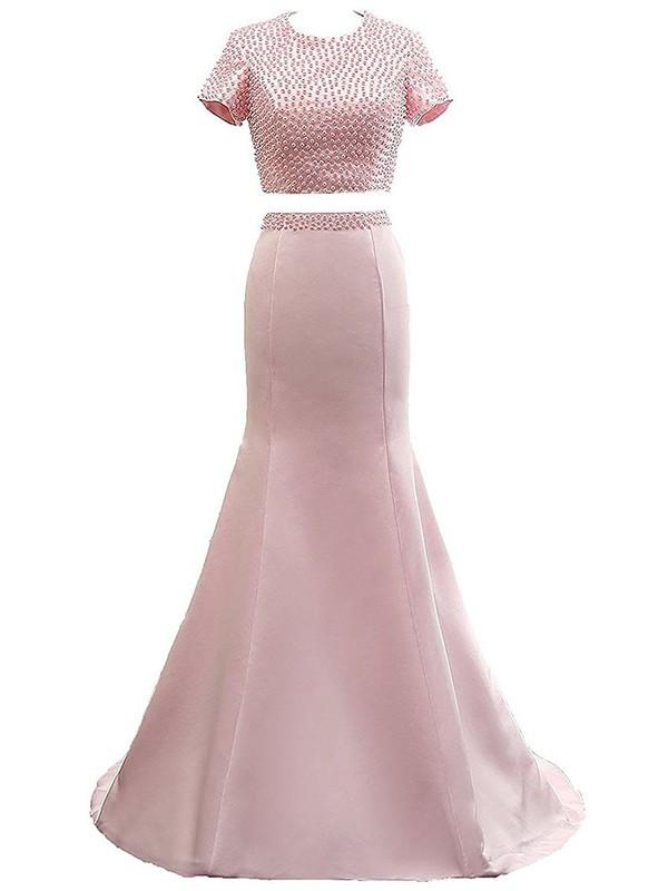 Sweet Two Piece Pink Trumpet/Mermaid Scoop Neck Satin Pearl Detailing Sweep Train Short Sleeve Prom Dresses #JCD020103344