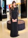 Scoop Neck Black Sheath/Column Lace Ruffles Floor-length Sexy Long Sleeve Plus Size Prom Dresses #JCD020103402
