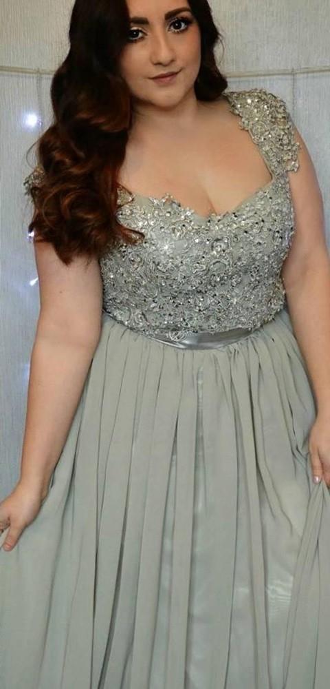 A-line Tulle Chiffon Appliques Lace Floor-length Cap Straps Online V-neck Plus Size Prom Dresses #JCD020103408