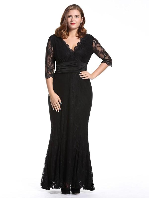 V-neck Black Sheath/Column Lace Sashes / Ribbons 1/2 Sleeve Fashion Ankle-length Plus Size Prom Dresses #JCD020103409
