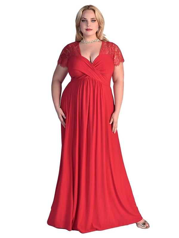 V-neck Sheath/Column Lace Silk-like Satin Ruffles Floor-length Trendy Short Sleeve Plus Size Prom Dresses #JCD020103411