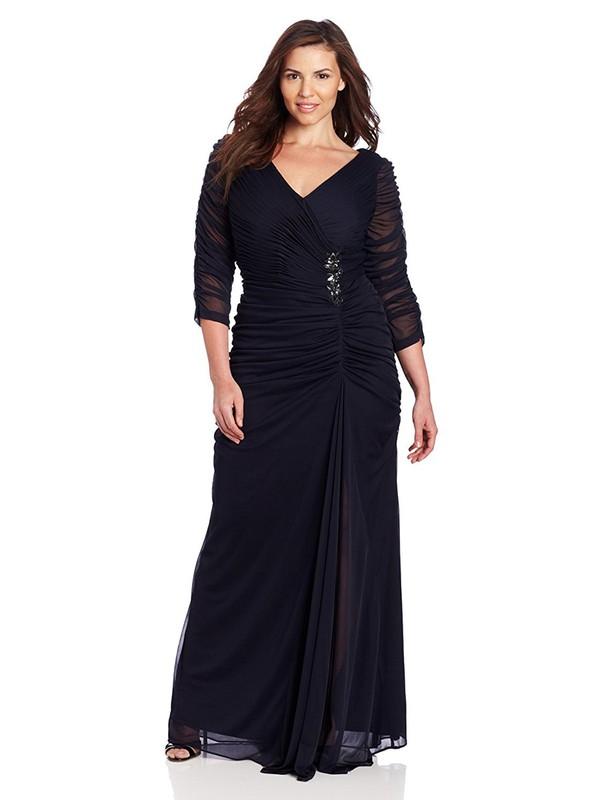 Dark Navy Sheath/Column V-neck Chiffon Beading Floor-length Latest 3/4 Sleeve Plus Size Prom Dresses #JCD020103415
