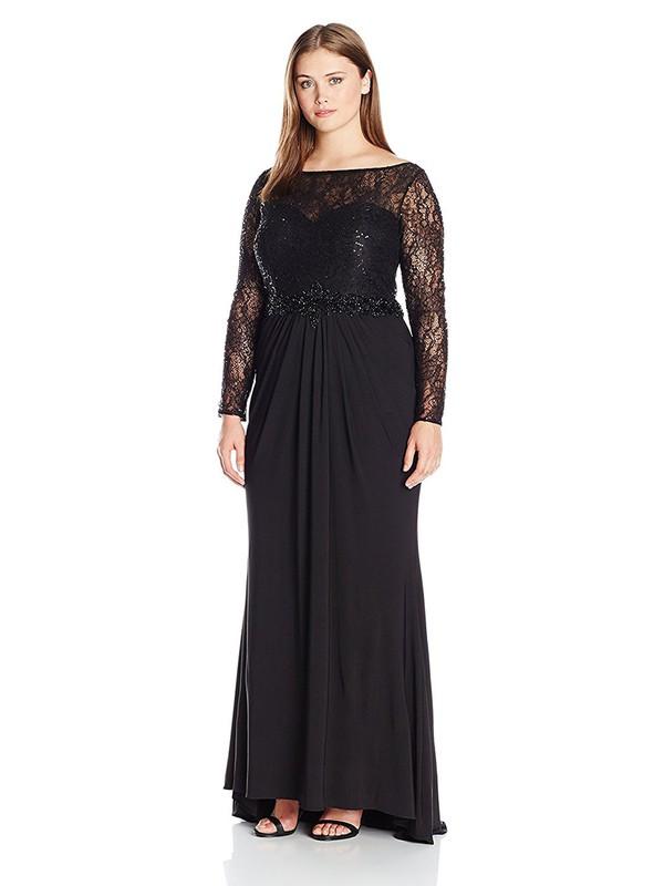 Black Sheath/Column Scoop Neck Lace Chiffon Beading Long Sleeve New Ankle-length Plus Size Prom Dresses #JCD020103416