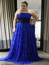 Boutique Royal Blue Empire Lace with Appliques Lace Sweep Train Strapless Plus Size Prom Dresses #JCD020103426