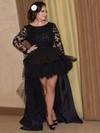 Asymmetrical A-line Scoop Neck Black Tulle Silk-like Satin Appliques Lace Unique Long Sleeve High Low Plus Size Prom Dresses #JCD020103427