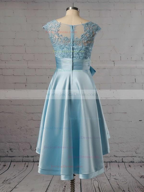 Asymmetrical A-line Scoop Neck Satin Tulle Appliques Lace Cap Straps Original High Low Prom Dresses #JCD020103433
