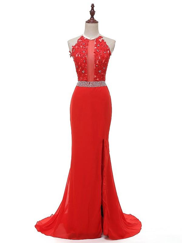 Trumpet/Mermaid Red Chiffon Split Front Sweep Train Custom Halter Prom Dresses #JCD020103446
