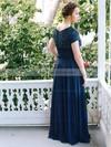 Wholesale A-line Scoop Neck Chiffon Appliques Lace Floor-length Short Sleeve Prom Dresses #JCD020103469