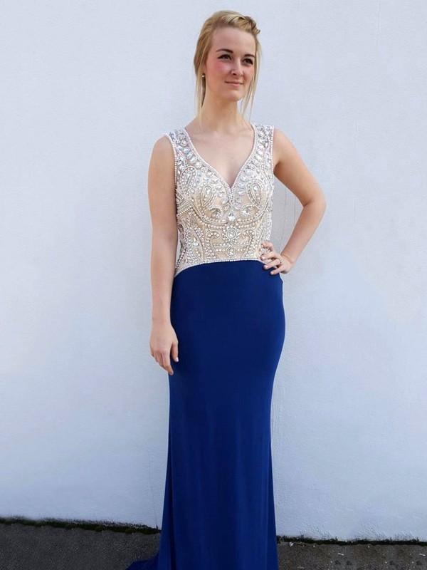 New Sheath/Column V-neck Tulle Silk-like Satin Pearl Detailing Sweep Train Royal Blue Open Back Prom Dresses #JCD020103482