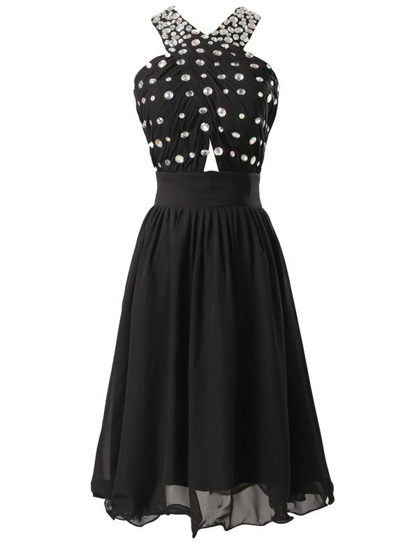 Halter A-line Black Chiffon with Beading Wholesale Short/Mini Prom Dresses #JCD020103485