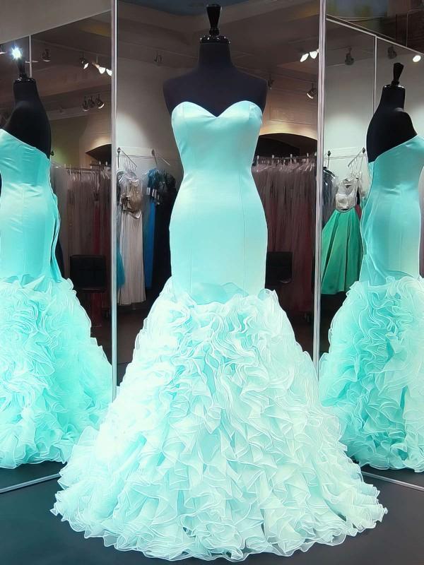 Unique Sweetheart Organza Silk-like Satin Cascading Ruffles Sweep Train Trumpet/Mermaid Prom Dresses #JCD020103488