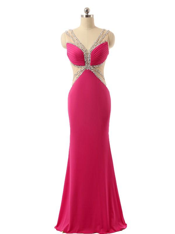 V-neck Sheath/Column Chiffon Tulle with Beading Floor-length Elegant Backless Prom Dresses #JCD020103493