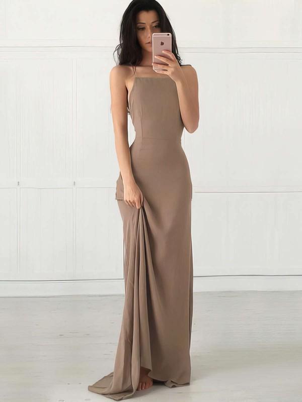 Sexy Square Neckline Sheath/Column Chiffon Ruffles Floor-length Backless Prom Dresses #JCD020103498