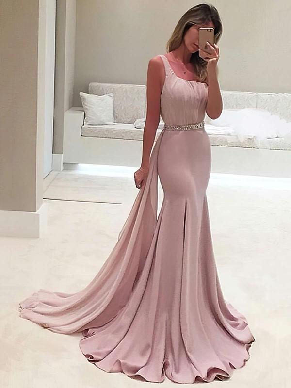 One Shoulder Trumpet/Mermaid Chiffon Beading Sweep Train Elegant Backless Prom Dresses #JCD020103518