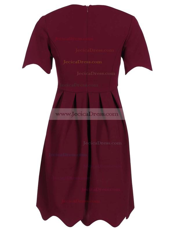 Short/Mini A-line Scoop Neck Satin Ruffles Simple Short Sleeve Prom Dresses #JCD020103522