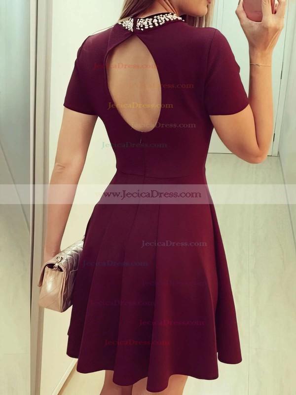 Modern Open Back Short/Mini A-line Scoop Neck Satin Beading Short Sleeve Prom Dresses #JCD020103523