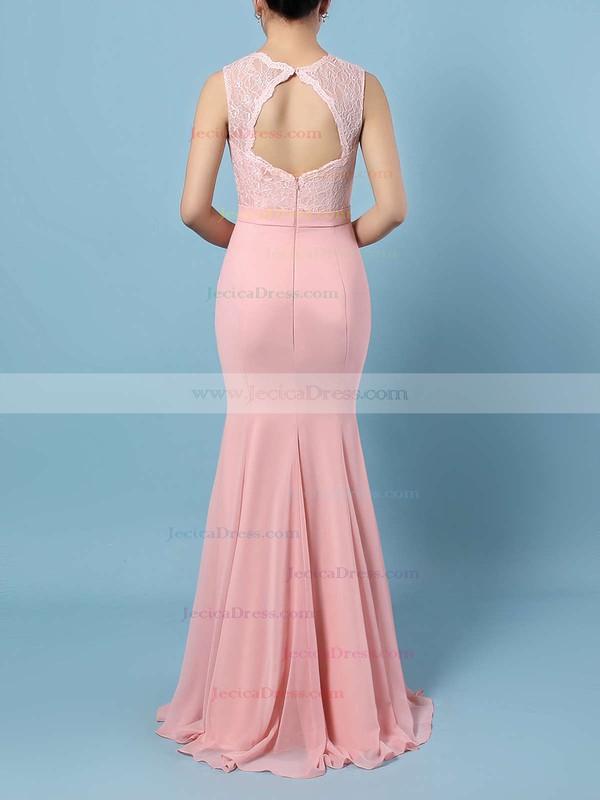 V-neck Sheath/Column Chiffon with Beading Sweep Train Fashion Backless Prom Dresses #JCD020103525