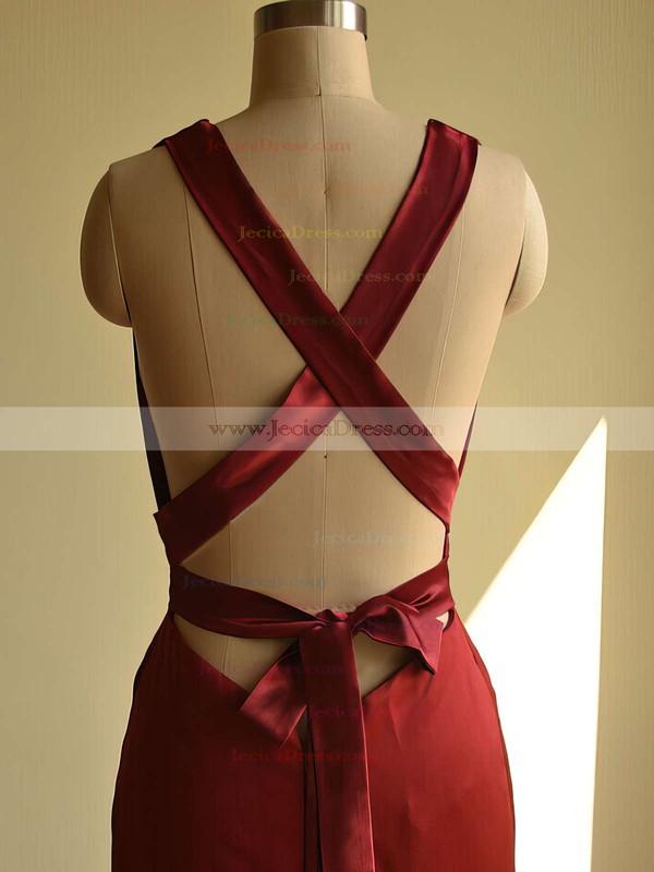 Trendy Trumpet/Mermaid V-neck Silk-like Satin Ruffles Sweep Train Burgundy Backless Prom Dresses #JCD020103526
