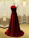 Burgundy A-line Scoop Neck Velvet Beading Sweep Train Wholesale Backless Prom Dresses #JCD020103533