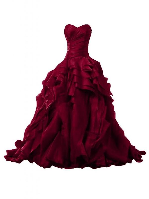 Original Burgundy Sweetheart Organza with Ruffles Sweep Train Ball Gown Prom Dresses #JCD020103541