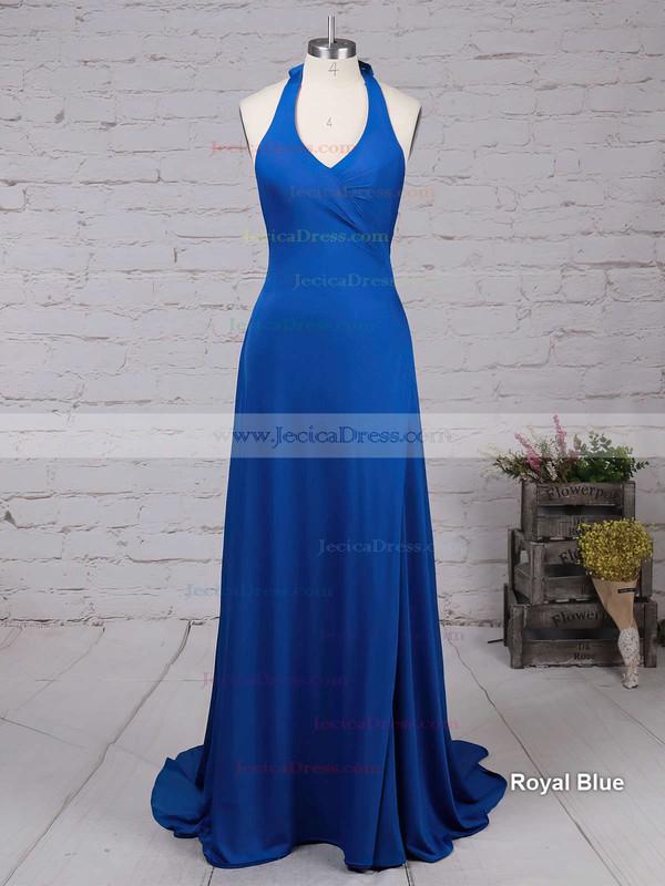 Royal Blue Sheath/Column V-neck Silk-like Satin Split Front Sweep Train Latest Backless Prom Dresses #JCD020103559