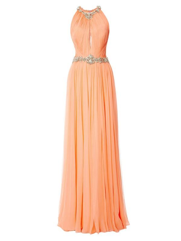 Modest A-line Scoop Neck Orange Chiffon with Beading Floor-length Prom Dresses #JCD020103560