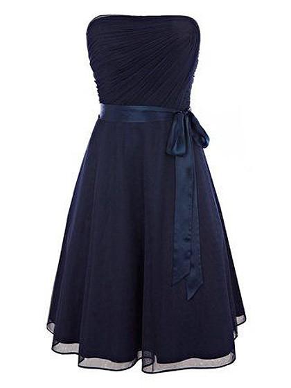 Wholesale Dark Navy A-line Chiffon with Sashes / Ribbons Short/Mini Strapless Prom Dresses #JCD020103567