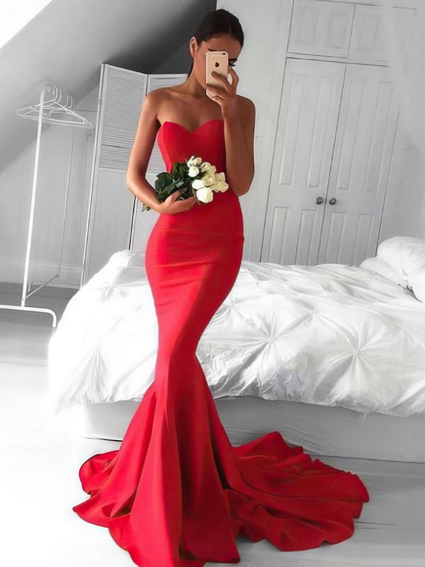 Trumpet/Mermaid Sweetheart Silk-like Satin Ruffles Sweep Train Top Red Backless Prom Dresses #JCD020103568